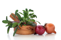 Sage Herb Leaves and Onions Royalty Free Stock Photos