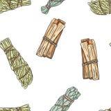 Sage smudge sticks hand-drawn boho seamless pattern. Sage, mugwort and palo santo bundle texture background tile vector illustration
