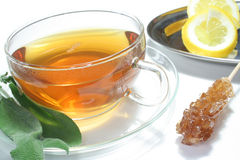 Sage tea. Teacup with sage tea and fresh sage on a white background Royalty Free Stock Images