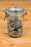 Sage tea (adacayi) in a jar on a wooden surface. Sage tea (adacayi) in a jar Stock Photo