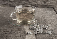 Sage tea on wooden table Stock Photography