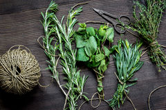 Sage and thyme, mint, estragon on wooden background top view stock photo
