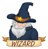 Sage Wizard Character with Ribbon, Vector Illustration Royalty Free Stock Image