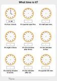 Sagen des Zeitarbeitsblattes Arbeitsblatt für Bildung vektor abbildung