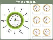 Sagen des Zeitarbeitsblattes schreiben Sie die Zeit, die auf die Uhr gezeigt wird lizenzfreie abbildung