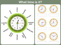 Sagen des Zeitarbeitsblattes schreiben Sie die Zeit, die auf die Uhr gezeigt wird Stockbild
