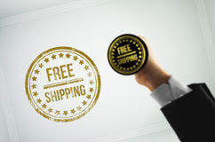 Sagen Sie den Kunden, die Ihr Produkt kostenloser Versand ist Stockbild