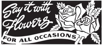 Sagen Sie es mit Blumen 3 lizenzfreie abbildung