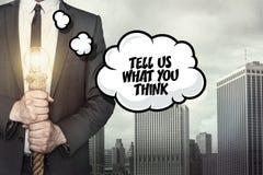 Sagen Sie uns, was Sie Text auf Spracheblase denken Stockbilder