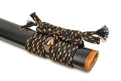 Sageo cord for tie the scabbard of Japanese sword isolated in white background. royalty free stock photos