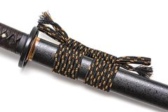 Sageo cord for tie the scabbard of Japanese sword in white background. royalty free stock photo
