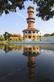 Sages Lookout Tower (Ho Withun Thasana). The Royal Residence (Phra Thinang) and Sages Lookout Tower (Ho Withun Thasana) of the Thailand royal Summer Palace of Stock Images