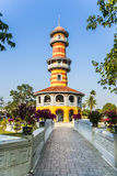 Sages Lookout Tower. The Royal Residence (Phra Thinang) and Sages Lookout Tower (Ho Withun Thasana) of the Thai royal Summer Palace of Bang Pa-in near Ayutthaya Royalty Free Stock Images