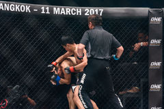 Sagetdao Petpayathai of Thailand and Kelvin Ong of Malaysia in One Championship. Stock Photos