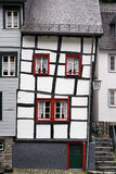 Sagged building. Skewed half-timbered house in the historical town center of Monschau a small resort town in the Eifel region of North Rhine-Westphalia, western Stock Photography