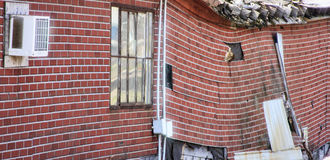 Sagging brickwork. Of an old factory royalty free stock photo