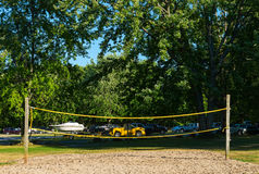 Sagging volleyball net. In a park Royalty Free Stock Images