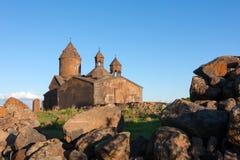 Солнечный свет на церков Saghmosavank стоковые фотографии rf