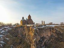 Saghmosavankklooster dichtbij kloof van Kassakh-rivier armenië royalty-vrije stock afbeelding