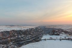 Saghmosavankklooster dichtbij kloof van Kassakh-rivier armenië stock fotografie