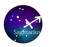 Sagitário do sinal do zodíaco para o horóscopo, a constelação e o símbolo no quadro redondo ilustração stock