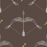 Sagittario del segno dello zodiaco Modello senza cuciture d'annata dell'oroscopo royalty illustrazione gratis