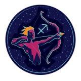 Sagittario del segno dello zodiaco su fondo stellato Fotografie Stock Libere da Diritti