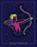 Sagittario del segno dello zodiaco sul fondo del cielo notturno Fotografia Stock Libera da Diritti