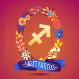 SAGITTARIO del segno dello zodiaco, in una corona floreale dolce Segno, fiori, foglie e nastro dell'oroscopo Immagini Stock Libere da Diritti