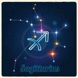 Sagittario della costellazione di vettore con il segno dello zodiaco Immagini Stock Libere da Diritti