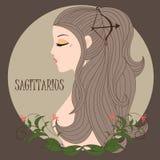 Sagittario della ragazza dello zodiaco Fotografie Stock