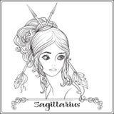 Sagittarius, łuczniczka dziewczyn piękni potomstwa royalty ilustracja