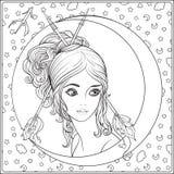 Sagittarius, łuczniczka Młoda piękna dziewczyna W postaci jeden ilustracja wektor