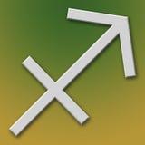 Sagittarius Aluminum Symbol. On background degraded royalty free illustration