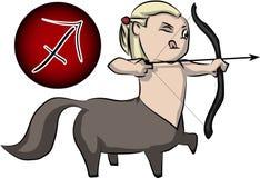 Sagittarius cartoon. Sagittarius zodiac sign in cute cartoon style Royalty Free Stock Photos