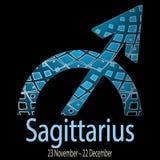 sagittarius Dekorativt dekorativt vektorzodiaktecken Astrolog Fotografering för Bildbyråer