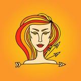 Sagittarius girl portrait. Zodiac fire sign. Doodle vector illustration. Sagittarius girl portrait. Zodiac fire sign. Doodle vector illustration Stock Photo