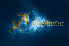 Sagittarius Horoscope Sign. Abstract night sky background. Horoscope Symbol and Text Royalty Free Stock Images