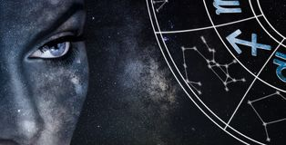 Sagittarius Horoscope Sign. Astrology women night sky background. Sagittarius Horoscope Sign Royalty Free Stock Photography