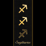 Sagittarius Horoscope Symbols. Golden embossed zodiac icons in three styles for the astrology Fire Sign, Sagittarius, with textured black background Royalty Free Stock Image