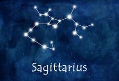Sagittarius horoscope or zodiac or constellation illustration.  Royalty Free Stock Photography