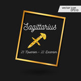 Sagittarius icon. Gold Zodiac Signs - Sagittarius. The Archer Stock Photography