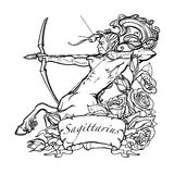 Sagittarius isolated on white background. Sagittarius Zodiac sign with a decorative frame of roses Astrology concept art. Tattoo design. Gay Pinup style. Sketch Stock Images