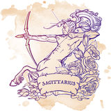 Sagittarius isolated on white background. Sagittarius Zodiac sign with a decorative frame of roses Astrology concept art. Tattoo design. Gay Pinup style. Sketch Stock Image