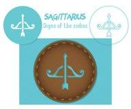 sagittarius Segni dello zodiaco Taglio di Lazenaya Può essere usato per il taglio del laser del legno, cuoio, carta, cartone, pla illustrazione vettoriale
