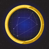 Sagittarius star horoscope zodiac in fish eye telescope with cosmos background. Sagittarius star horoscope zodiac in fish eye telescope golden ring frame with Royalty Free Stock Photography