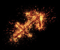 Sagittarius symbol. Spark is isolated on black background stock images