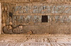 Sagittarius, Taurus, Scorpio, Zodiac Ceiling. Ancient Egyptian ceiling at Dendera Temple. Signs of the zodiac are carved and painted including Taurus the bull stock images