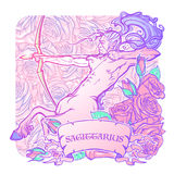 Sagittarius  on white background. Sagittarius Zodiac sign with a decorative frame of roses Astrology concept art. Tattoo design. Gay Pinup style. Sketch  on Royalty Free Stock Photo