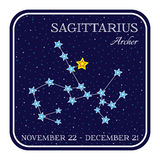 Sagittarius zodiac constellation in square frame Royalty Free Stock Photography